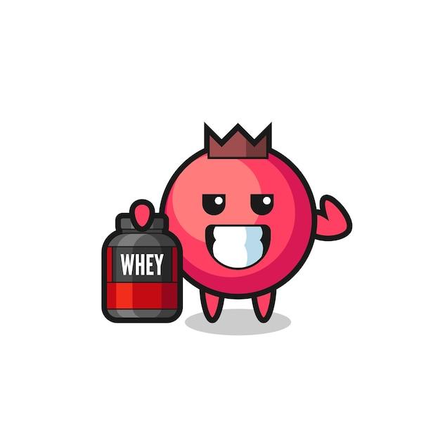 Le personnage musclé de canneberge tient un supplément de protéines, un design de style mignon pour un t-shirt, un autocollant, un élément de logo