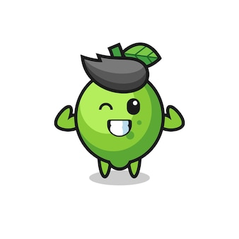 Le personnage musclé de citron vert pose en montrant ses muscles, un design de style mignon pour un t-shirt, un autocollant, un élément de logo