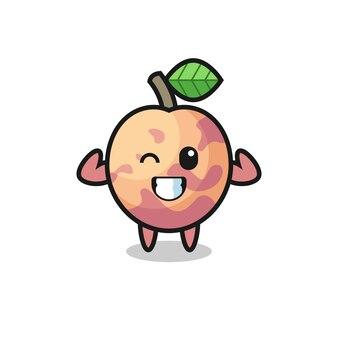 Le personnage musclé du fruit de pluot pose en montrant ses muscles, un design de style mignon pour un t-shirt, un autocollant, un élément de logo