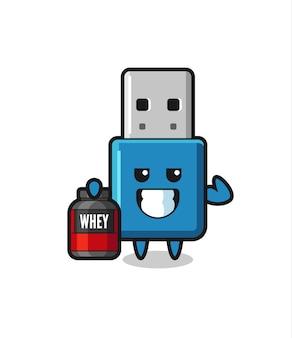 Le personnage musclé du lecteur flash usb tient un supplément de protéines, un design de style mignon pour un t-shirt, un autocollant, un élément de logo