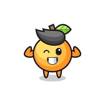 Le personnage musclé de fruits orange pose en montrant ses muscles, un design de style mignon pour un t-shirt, un autocollant, un élément de logo