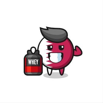 Le personnage musclé de l'insigne du drapeau du qatar tient un supplément de protéines, un design de style mignon pour un t-shirt, un autocollant, un élément de logo
