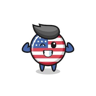 Le personnage musclé de l'insigne du drapeau des états-unis pose en montrant ses muscles, un design de style mignon pour un t-shirt, un autocollant, un élément de logo