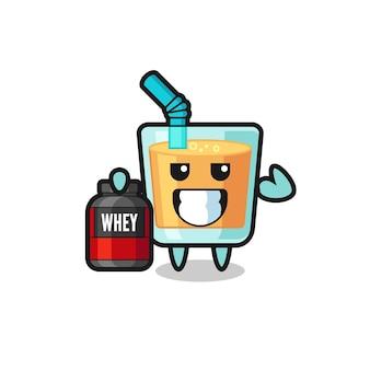 Le personnage musclé de jus d'orange tient un supplément de protéines, un design de style mignon pour un t-shirt, un autocollant, un élément de logo