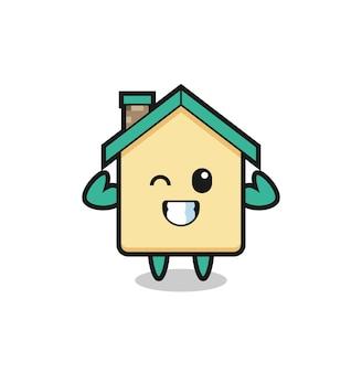 Le personnage musclé de la maison pose en montrant ses muscles, un design mignon