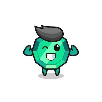 Le personnage musclé de pierres précieuses d'émeraude pose en montrant ses muscles, un design de style mignon pour un t-shirt, un autocollant, un élément de logo