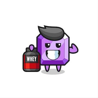 Le personnage musclé de pierres précieuses violettes tient un supplément de protéines, un design de style mignon pour un t-shirt, un autocollant, un élément de logo