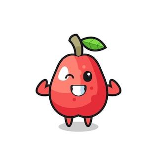 Le personnage musclé de pomme d'eau pose en montrant ses muscles, un design de style mignon pour un t-shirt, un autocollant, un élément de logo