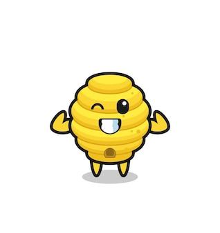 Le personnage musclé de la ruche d'abeilles pose en montrant ses muscles, un design mignon