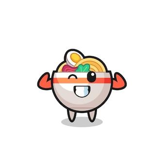 Le personnage musculaire du bol de nouilles pose en montrant ses muscles, un design de style mignon pour un t-shirt, un autocollant, un élément de logo