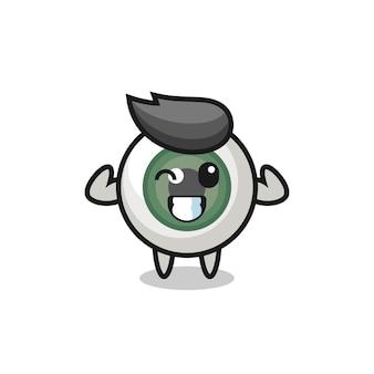 Le personnage musculaire du globe oculaire pose en montrant ses muscles, un design de style mignon pour un t-shirt, un autocollant, un élément de logo