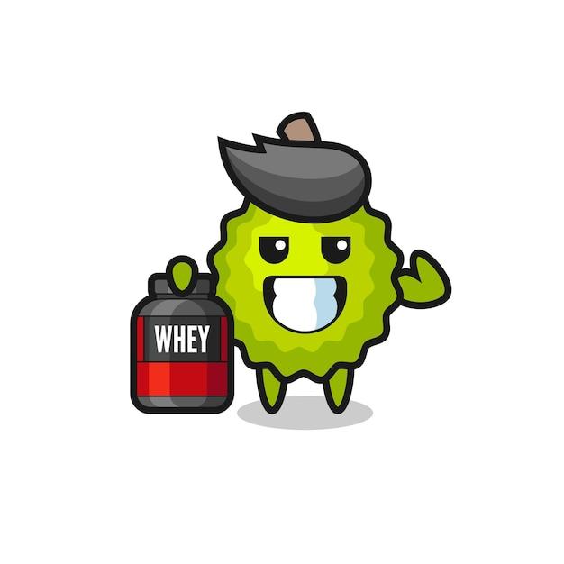 Le personnage musculaire durian tient un supplément de protéines, un design de style mignon pour un t-shirt, un autocollant, un élément de logo