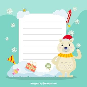 Personnage de noël avec fond de lettre
