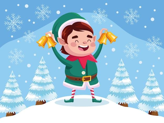 Personnage de noël mignon assistant de père noël avec des cloches dorées dans l'illustration de snowscape