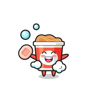 Le personnage de nouilles instantanées se baigne tout en tenant du savon, un design de style mignon pour un t-shirt, un autocollant, un élément de logo