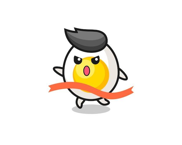 Le personnage d'œuf à la coque du coureur pose