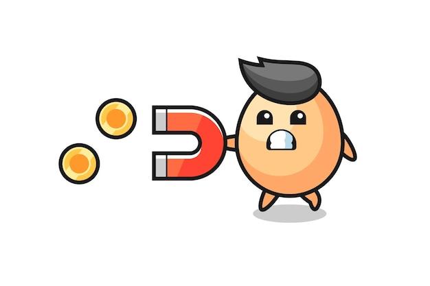 Le personnage de l'oeuf tient un aimant pour attraper les pièces d'or, design de style mignon pour t-shirt, autocollant, élément de logo