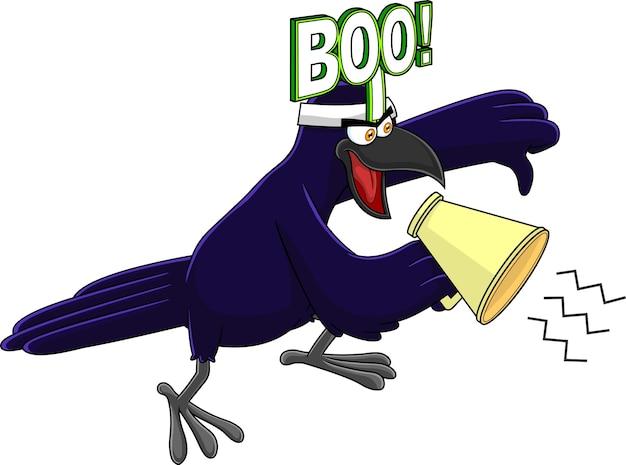 Personnage d'oiseau corbeau criant dans un mégaphone et donnant les pouces vers le bas. illustration