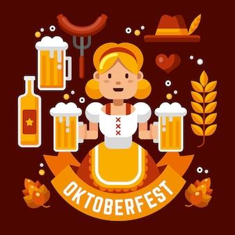 Personnage oktoberfest dessiné à la main illustré