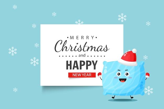 Le personnage d'oreiller mignon vous souhaite un joyeux noël et une bonne année