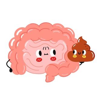 Le personnage d'organe d'intestin drôle mignon tient la merde. icône d'illustration de personnage kawaii cartoon dessiné à la main de vecteur. isolé sur fond blanc. organe de l'intestin humain, concept de personnage de dessin animé de merde