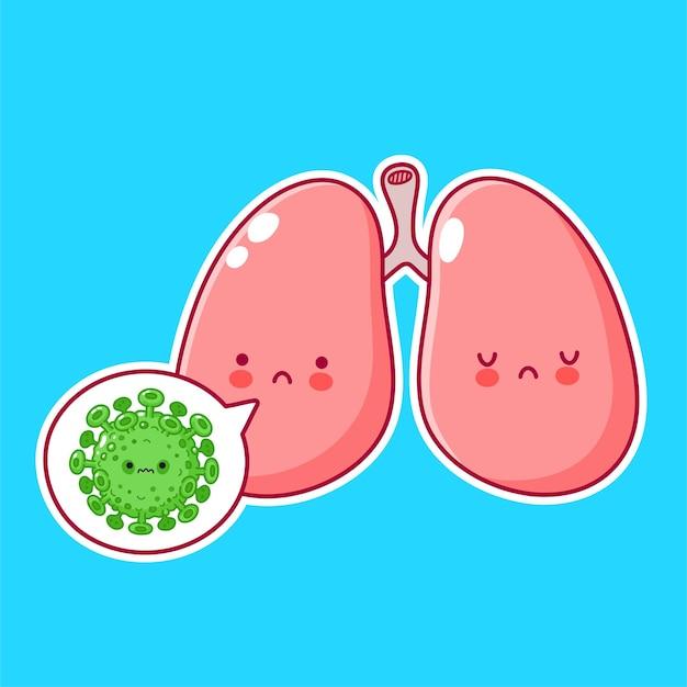 Personnage d'organe de poumons humains drôle mignon avec virus dans la bulle de dialogue