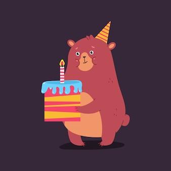 Personnage d'ours dessin animé mignon avec un gâteau. illustration de concept de joyeux anniversaire.