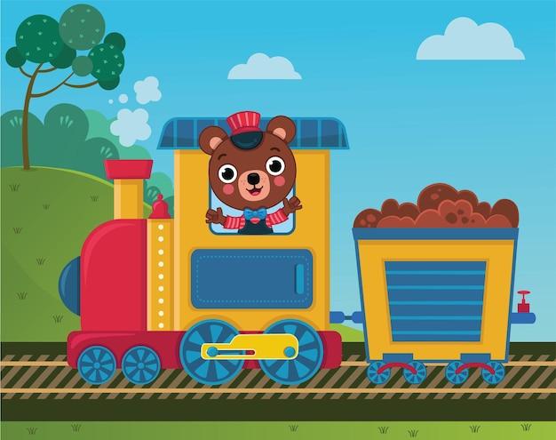 Le personnage d'ours mignon conduit un train illustration vectorielle