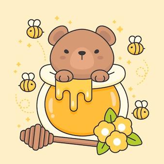 Personnage d'ours mignon dans un pot de miel