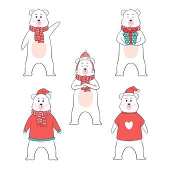 Personnage d & # 39; ours de noël avec des vêtements et une pose différente