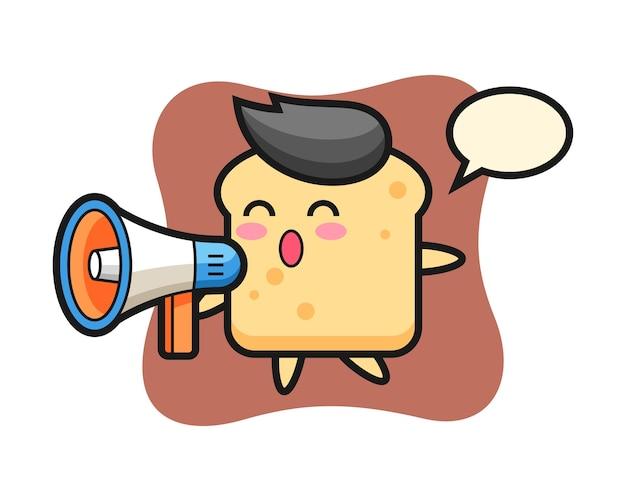 Personnage de pain tenant un mégaphone