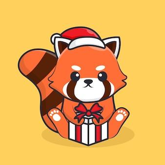 Personnage de panda rouge tenant un cadeau pour noël