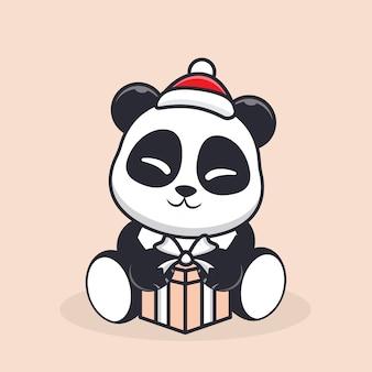 Personnage panda tenant un cadeau pour noël