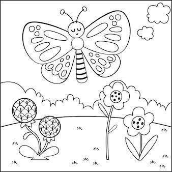 Personnage de papillon de dessin animé noir et blanc illustration vectorielle