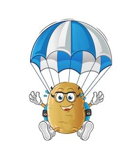 Personnage de parachutisme de pommes de terre
