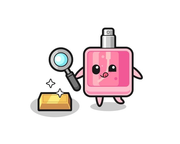 Le personnage de parfum vérifie l'authenticité des lingots d'or, un design de style mignon pour un t-shirt, un autocollant, un élément de logo