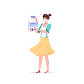 Personnage de patient de dessin animé transporter des médicaments
