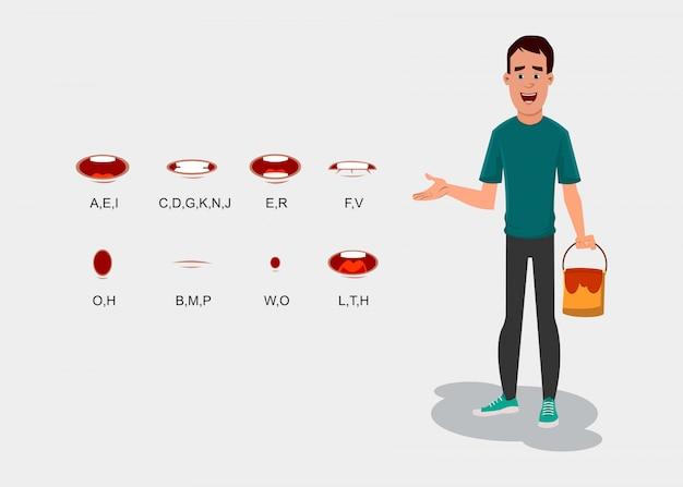 Personnage peintre avec synchronisation labiale différente. personnage peintre avec différents types d'expressions faciales pour votre conception, mouvement et animation.