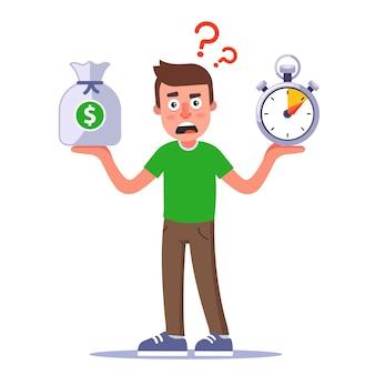 Le personnage pense comment gagner de l'argent rapidement. illustration plate isolée sur fond blanc.