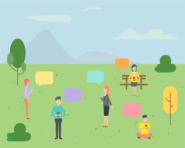 Personnage personnage discutant dans le fond du parc.