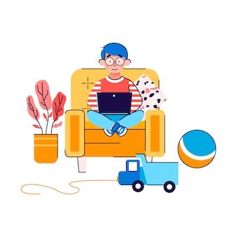 Personnage de petit garçon regardant ordinateur portable, illustration de dessin animé isolée.
