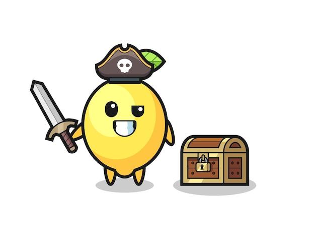 Le personnage de pirate au citron tenant l'épée à côté d'une boîte au trésor, design de style mignon pour t-shirt, autocollant, élément de logo
