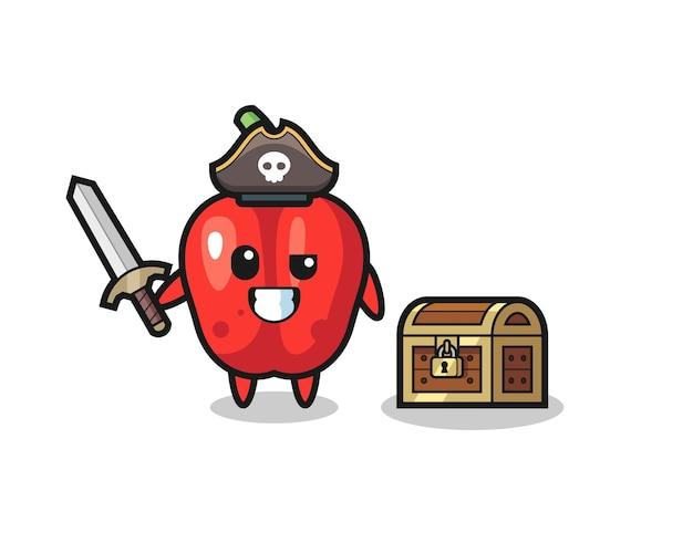 Le personnage de pirate au poivron rouge tenant l'épée à côté d'une boîte au trésor, design de style mignon pour t-shirt, autocollant, élément de logo