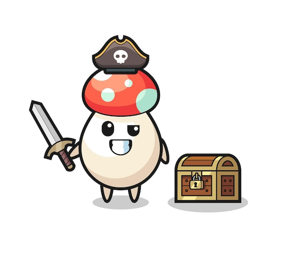 Le personnage de pirate aux champignons tenant l'épée à côté d'une boîte au trésor, design de style mignon pour t-shirt, autocollant, élément de logo
