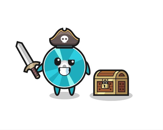 Le personnage de pirate de disque optique tenant une épée à côté d'une boîte au trésor, un design de style mignon pour un t-shirt, un autocollant, un élément de logo