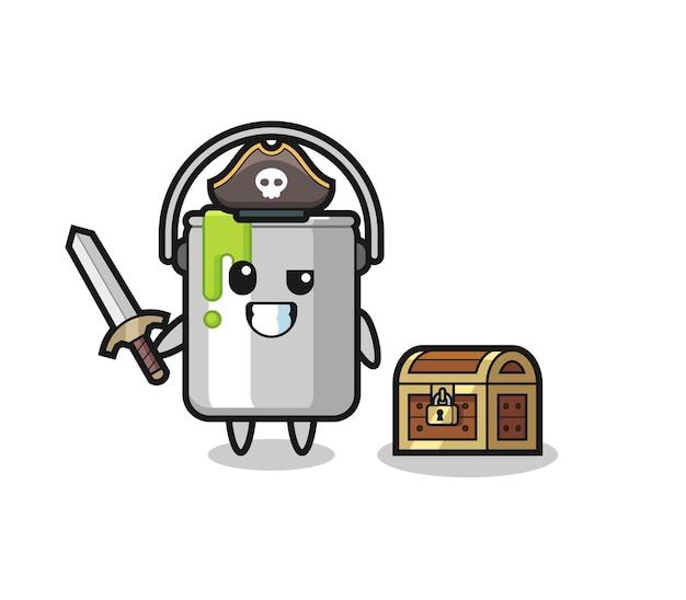 Le personnage de pirate en étain de peinture tenant l'épée à côté d'une boîte au trésor, design de style mignon pour t-shirt, autocollant, élément de logo