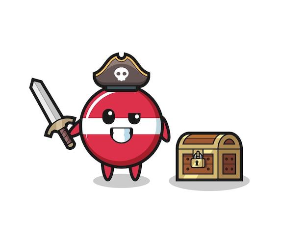 Le personnage de pirate d'insigne de drapeau de la lettonie tenant une épée à côté d'une boîte au trésor, un design de style mignon pour un t-shirt, un autocollant, un élément de logo