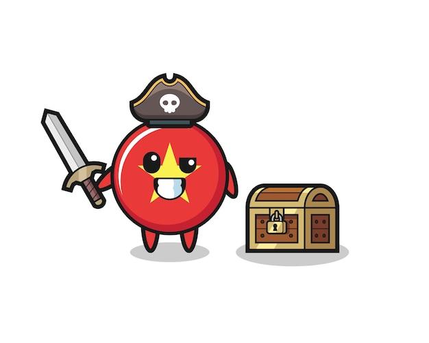 Le personnage de pirate insigne du drapeau vietnamien tenant une épée à côté d'une boîte au trésor, design de style mignon pour t-shirt, autocollant, élément de logo