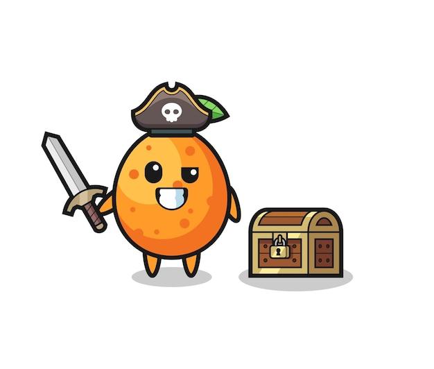 Le personnage de pirate kumquat tenant l'épée à côté d'une boîte au trésor, design de style mignon pour t-shirt, autocollant, élément de logo