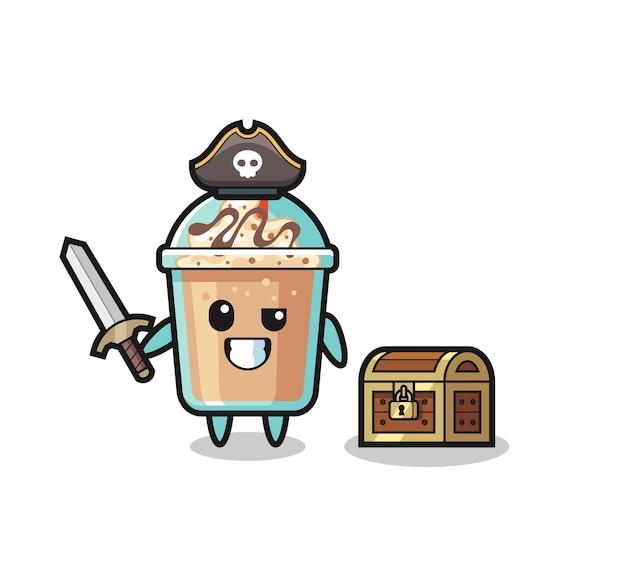 Le personnage de pirate milkshake tenant une épée à côté d'une boîte au trésor, un design de style mignon pour un t-shirt, un autocollant, un élément de logo